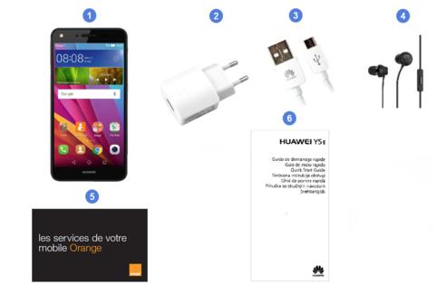 Huawei Y5-II, contenu du coffret.