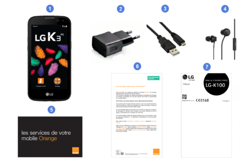 LG K3 4G, contenu du coffret.