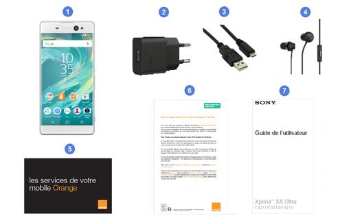 Sony Xperia XA Ultra, contenu du coffret.