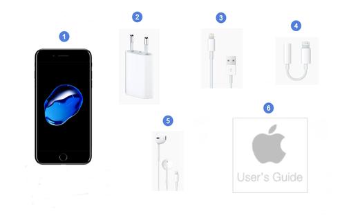 Apple iPhone 7 Plus, contenu du coffret.