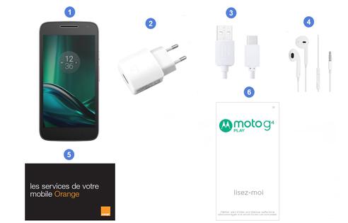 Lenovo Moto G4 Play, contenu du coffret.