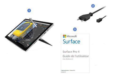Microsoft Surface Pro 4, contenu du coffret.