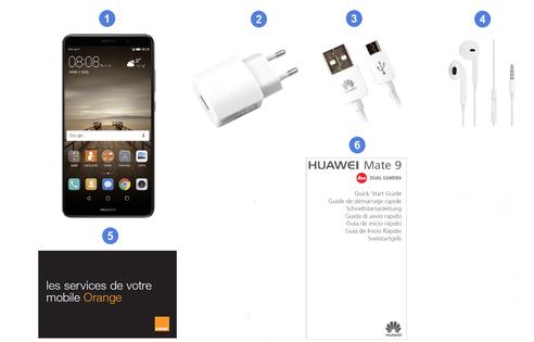 Huawei Mate 9, contenu du coffret.