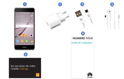 Huawei Nova, contenu du coffret.