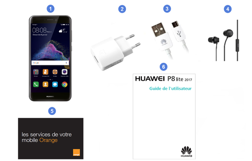Huawei P8 Lite 2017, contenu du coffret.