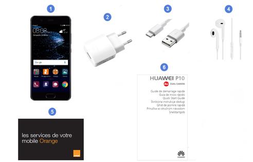 Huawei P10, contenu du coffret.
