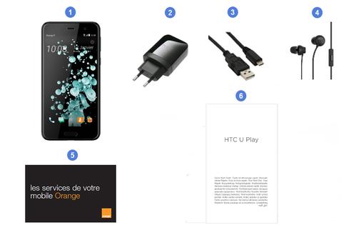 HTC U Play, contenu du coffret.