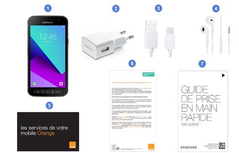 Samsung Galaxy Xcover 4, contenu du coffret.