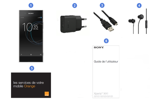Sony Xperia XA1, contenu du coffret.
