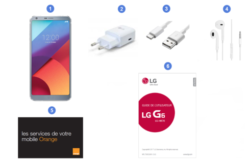 LG G6, contenu du coffret.
