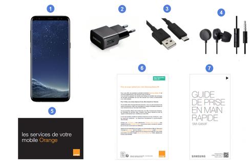 Samsung Galaxy S8, contenu du coffret.