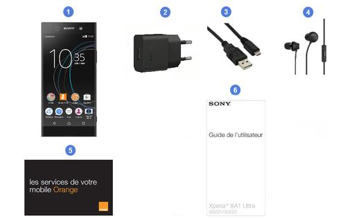 Sony Xperia XA1 Ultra, contenu du coffret.