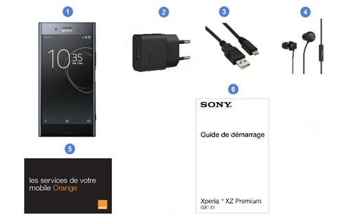 Sony Xperia XZ Premium, contenu du coffret.