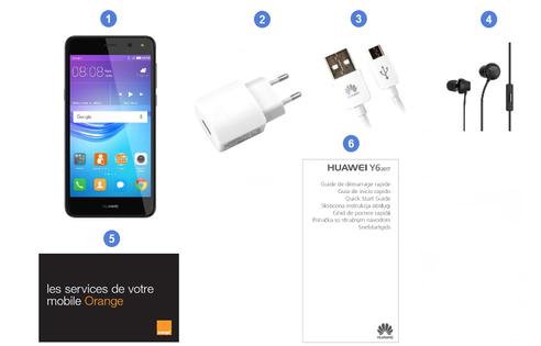 Huawei Y6 2017, contenu du coffret.