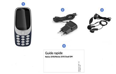 Nokia 3310, contenu du coffret.