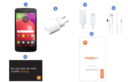 Motorola Moto E4, contenu du coffret.