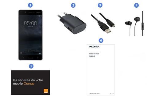 Nokia 5, contenu du coffret.