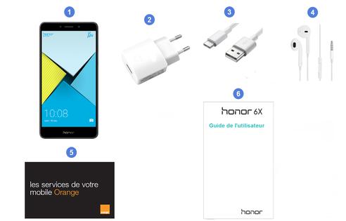 Honor 6X, contenu du coffret.