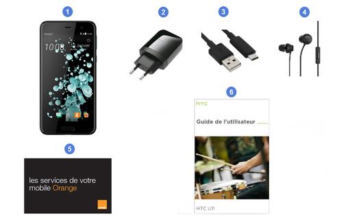HTC U11, contenu du coffret.