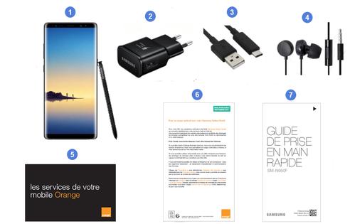 Samsung Galaxy Note 8, contenu du coffret.