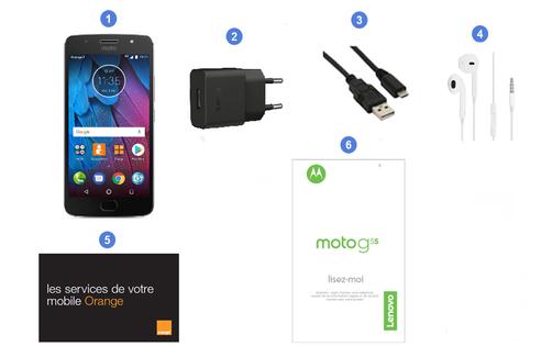 Motorola (Lenovo) moto G5s, contenu du coffret.