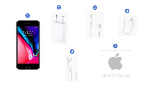 Apple iPhone 8, contenu du coffret.