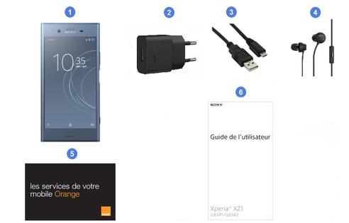Sony Xperia XZ1, contenu du coffret.