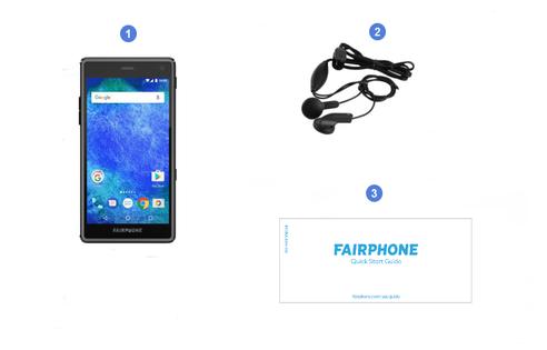 Fairphone 2, contenu du coffret.