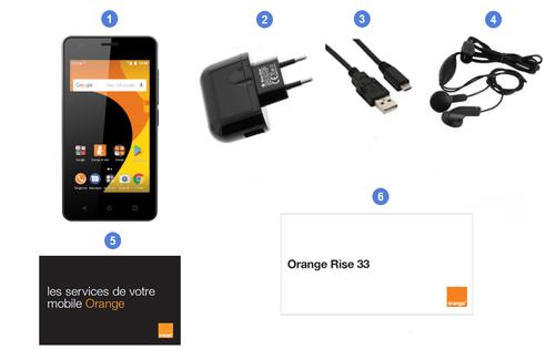 Orange Rise 33, contenu du coffret.