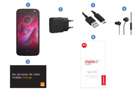 Motorola (Lenovo) Z2 Force, contenu du coffret.