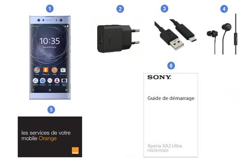 Sony Xperia XA2 Ultra, contenu du coffret.