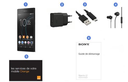 Sony Xperia L2, contenu du coffret.