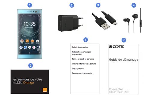 Sony Xperia XA2, contenu du coffret.