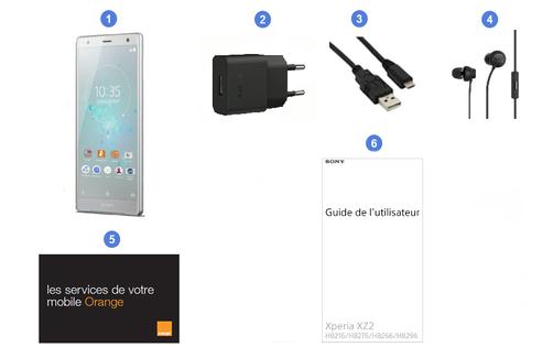 Sony Xperia XZ2, contenu du coffret.