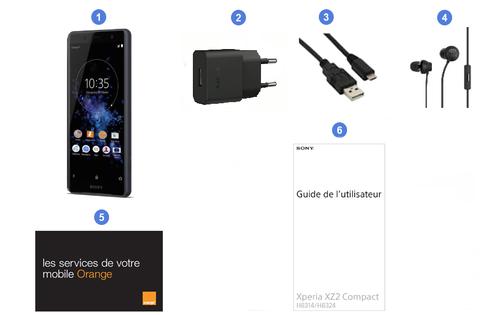 Sony Xperia XZ2 Compact, contenu du coffret.