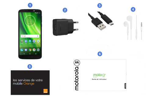 Motorola (Lenvovo) Moto G6 Play, contenu du coffret.