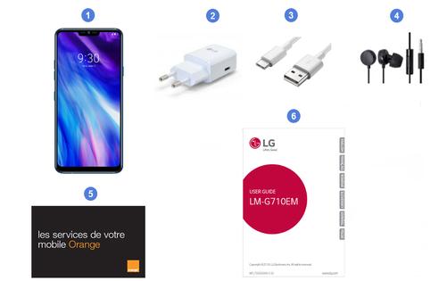 LG G7 ThinQ, contenu du coffret.