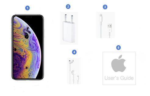 Apple iPhone XS, contenu du coffret.