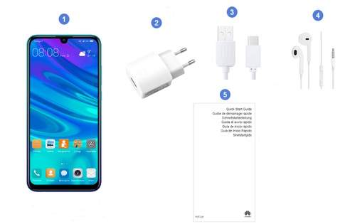 Huawei P Smart 2019, contenu du coffret.