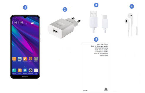 Huawei y6 2019, contenu du coffret.