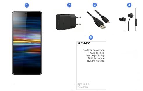 Sony Xperia L3, contenu du coffret.