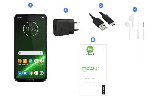 Motorola Lenovo Moto G7 Plus, contenu du coffret.