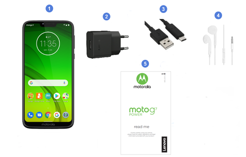Motorola Lenovo Moto G7 Power, contenu du coffret.