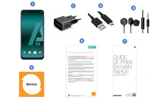Samsung Galaxy A50, contenu du coffret.