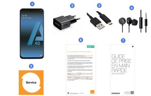 Samsung Galaxy A40, contenu du coffret.