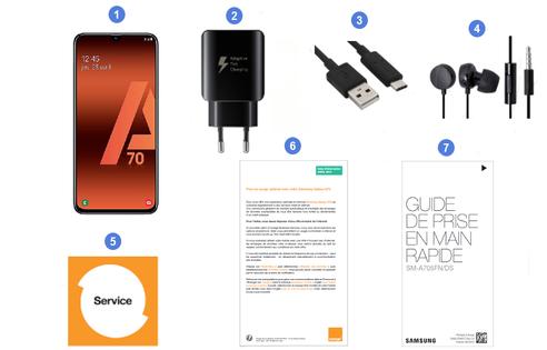Samsung Galaxy A70, contenu du coffret.
