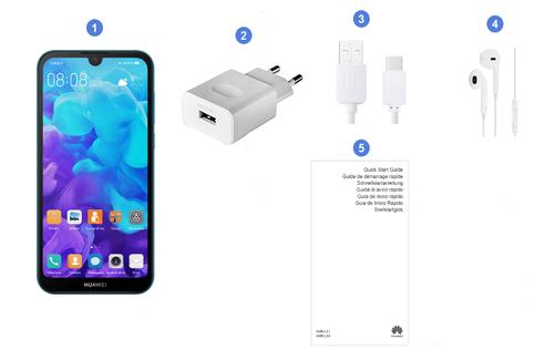 Huawei Y5 2019, contenu du coffret.