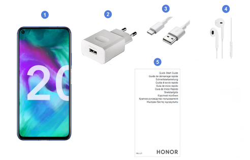 Honor 20 Pro, contenu du coffret.