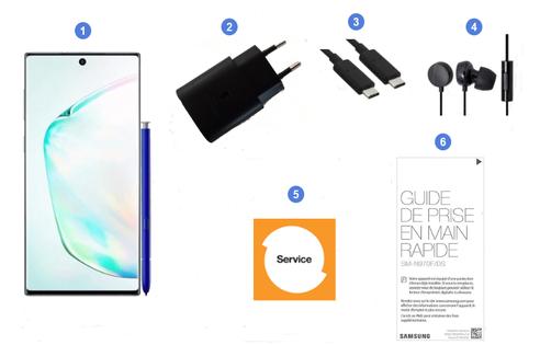 Samsung Galaxy Note10, contenu du coffret.