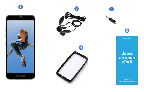 Fairphone 3, contenu du coffret.
